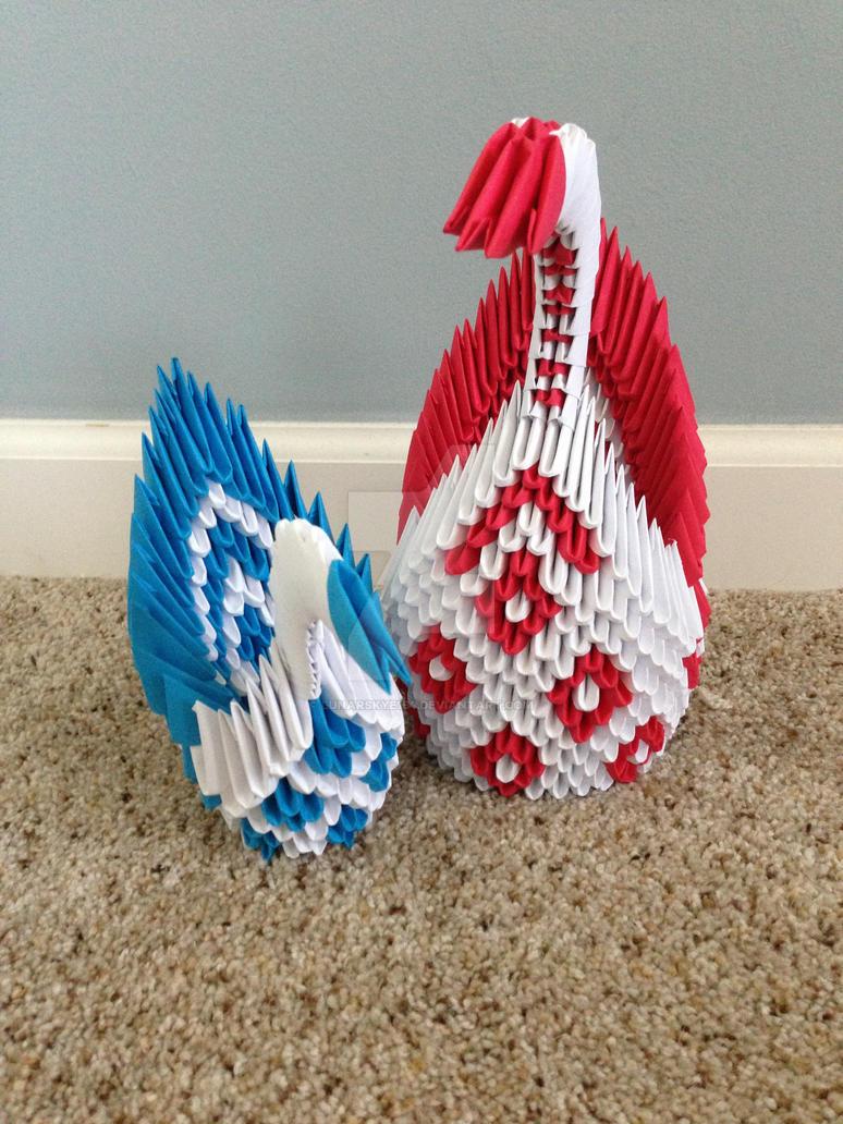 3D Origami Diamond Peacocks By LunarSkye154