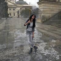 Happy girl on a rainy day by 3Dfantasyworld