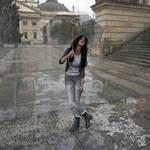Happy girl on a rainy day