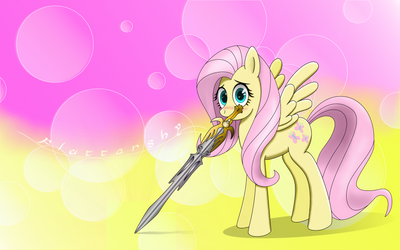 Fluttershy Sword Wallpaper by DemoMare