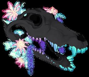 crocodile skull + flowers