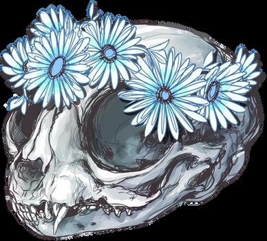 kitten skull + flowers