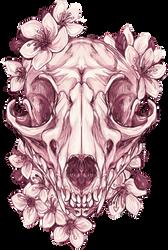 fox skull + flowers by aliensphynx