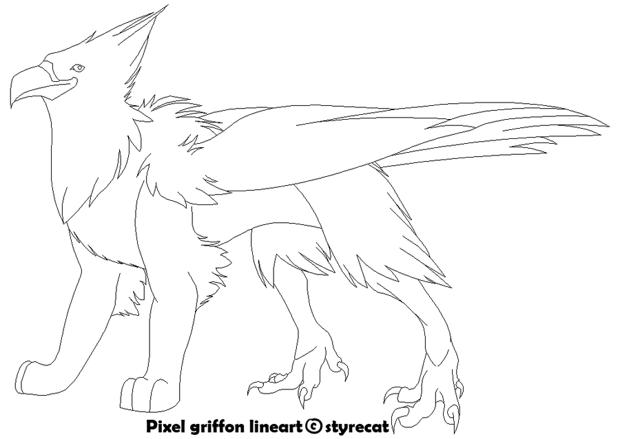 Drawing Lines With Pixels : Pixel griffon lineart by styrecat on deviantart