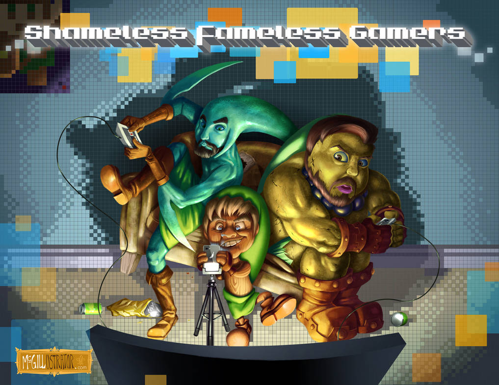 Shameless Fameless Gamers - Title Card by McGillustrator