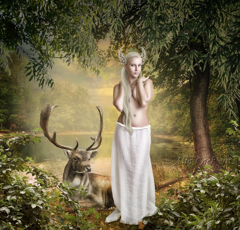 Beauty and the deer by AliaChek