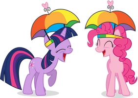 Pinkie and Twilight - Umbrella Hats, Hell Yeah! by GoblinEngineer