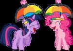 Pinkie and Twilight - Umbrella Hats, Hell Yeah!