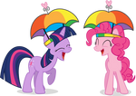 Pinkie and Twilight - Umbrella Hats, Hell Yeah!