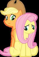 Applejack and Fluttershy: Dragonshy by GoblinEngineer