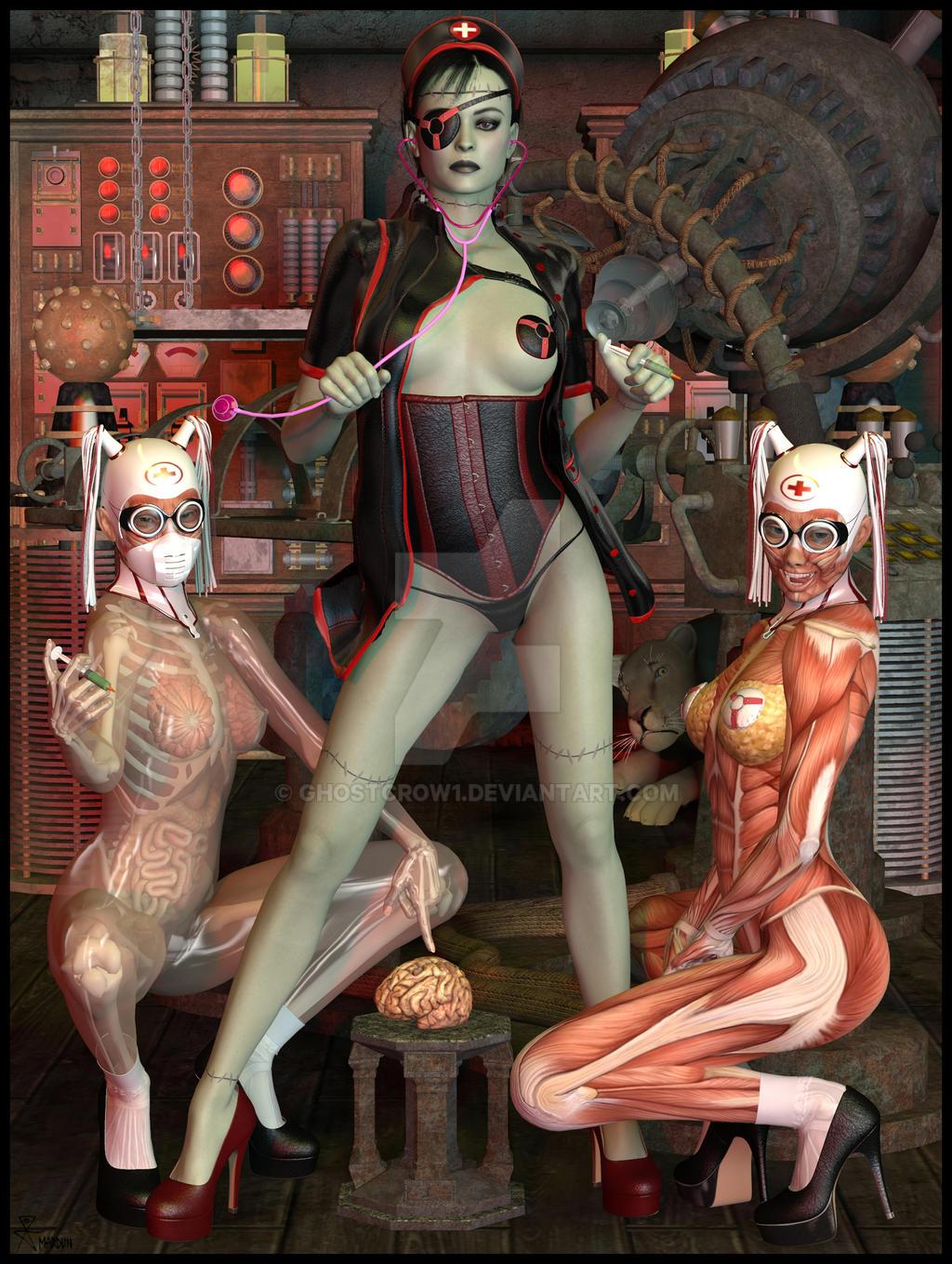 Goetia Girls: Frankenstein Witch Nurse Succubus by GHOSTCROW1