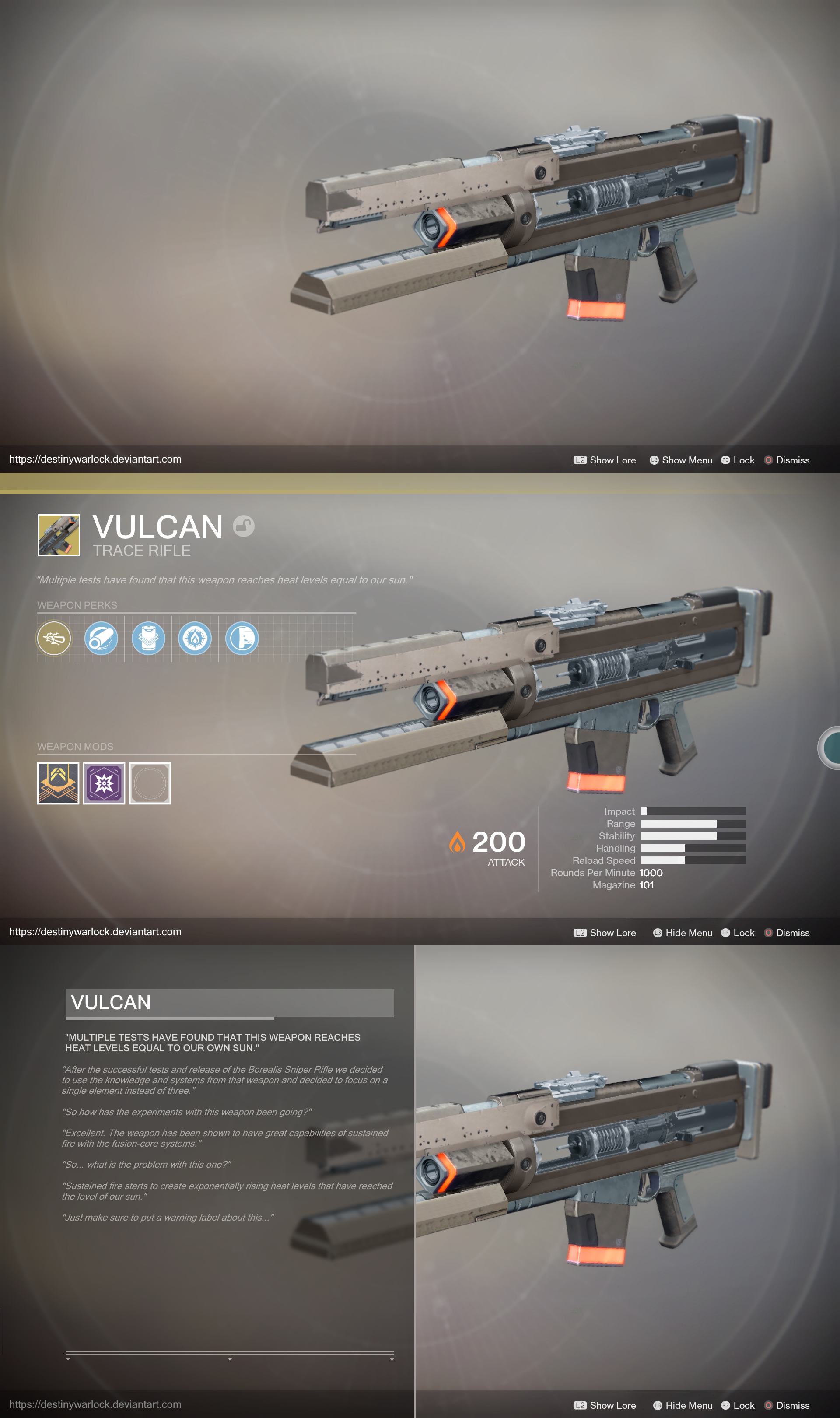 [D2 CONCEPT] Exotic Trace Rifle Concept: Vulcan by Joe_Fishstick_McGee