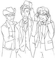 Three Doctors sharing props