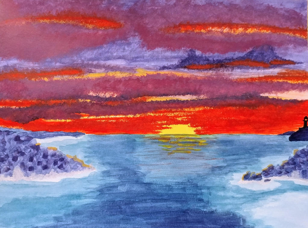 Water color Sunset by Goddess0fWar