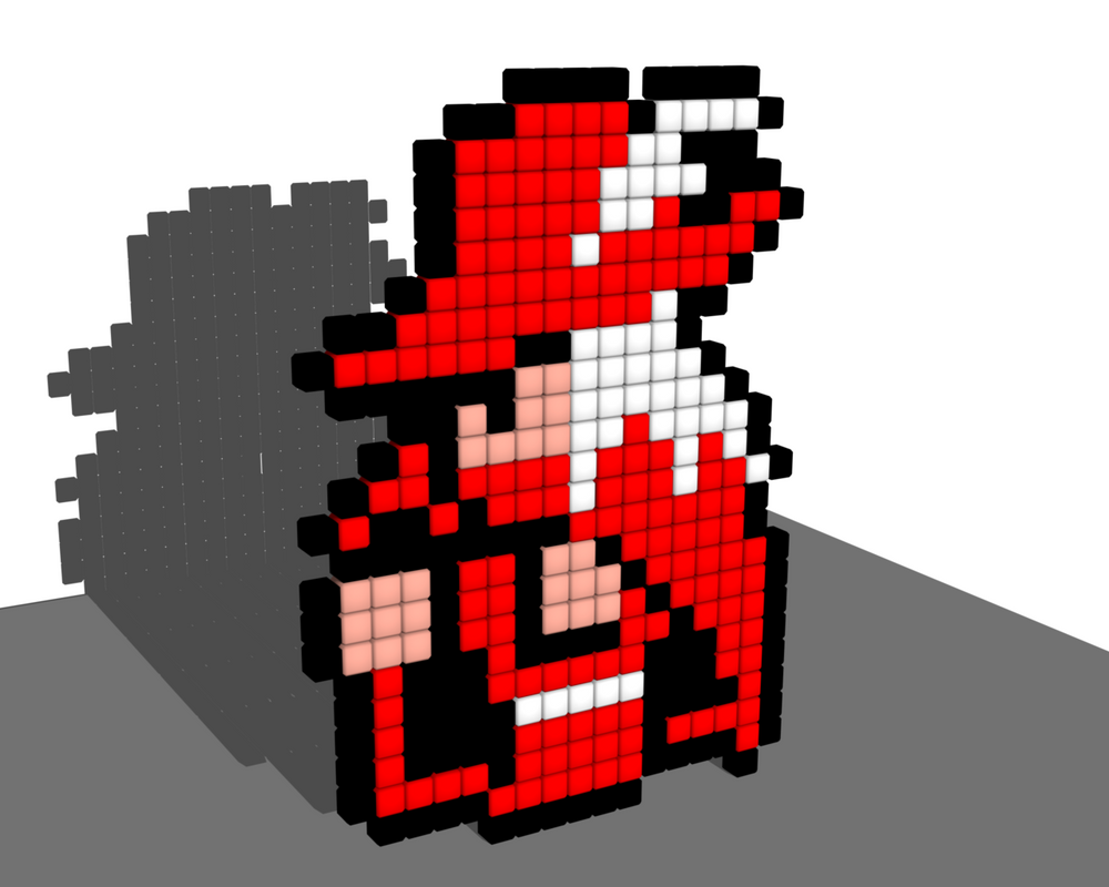 Red Mage 8 Bit Voxel by todd102030