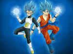 Super Saiyan God SS Goku and Vegeta