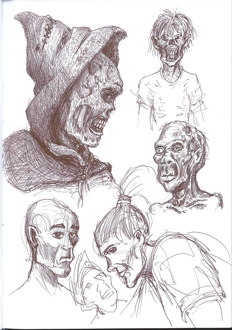 Sketchbook page featuring zombies by D-Type