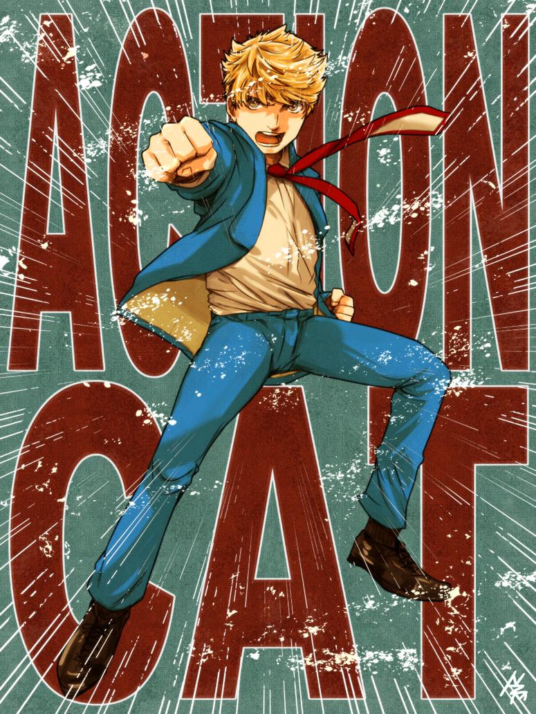 Action Cat by nezumi-zumi