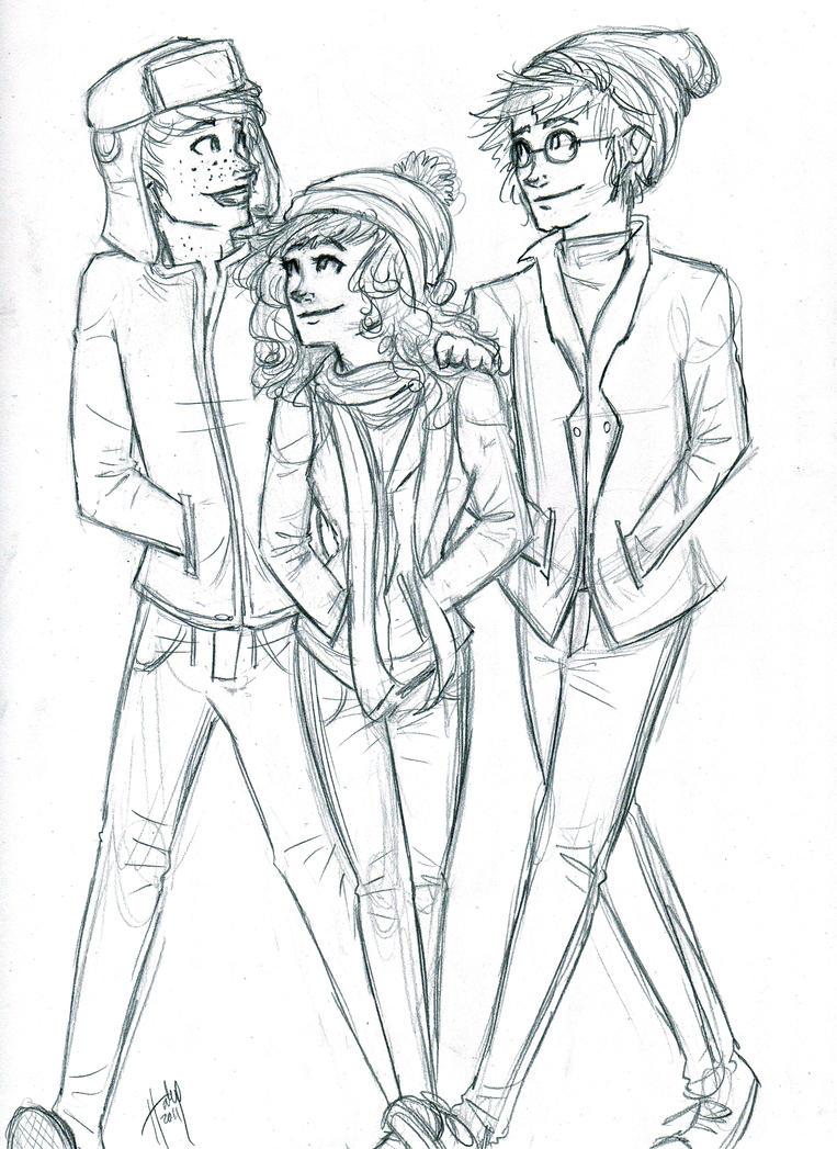 Winter Trio sketch by blindbandit5