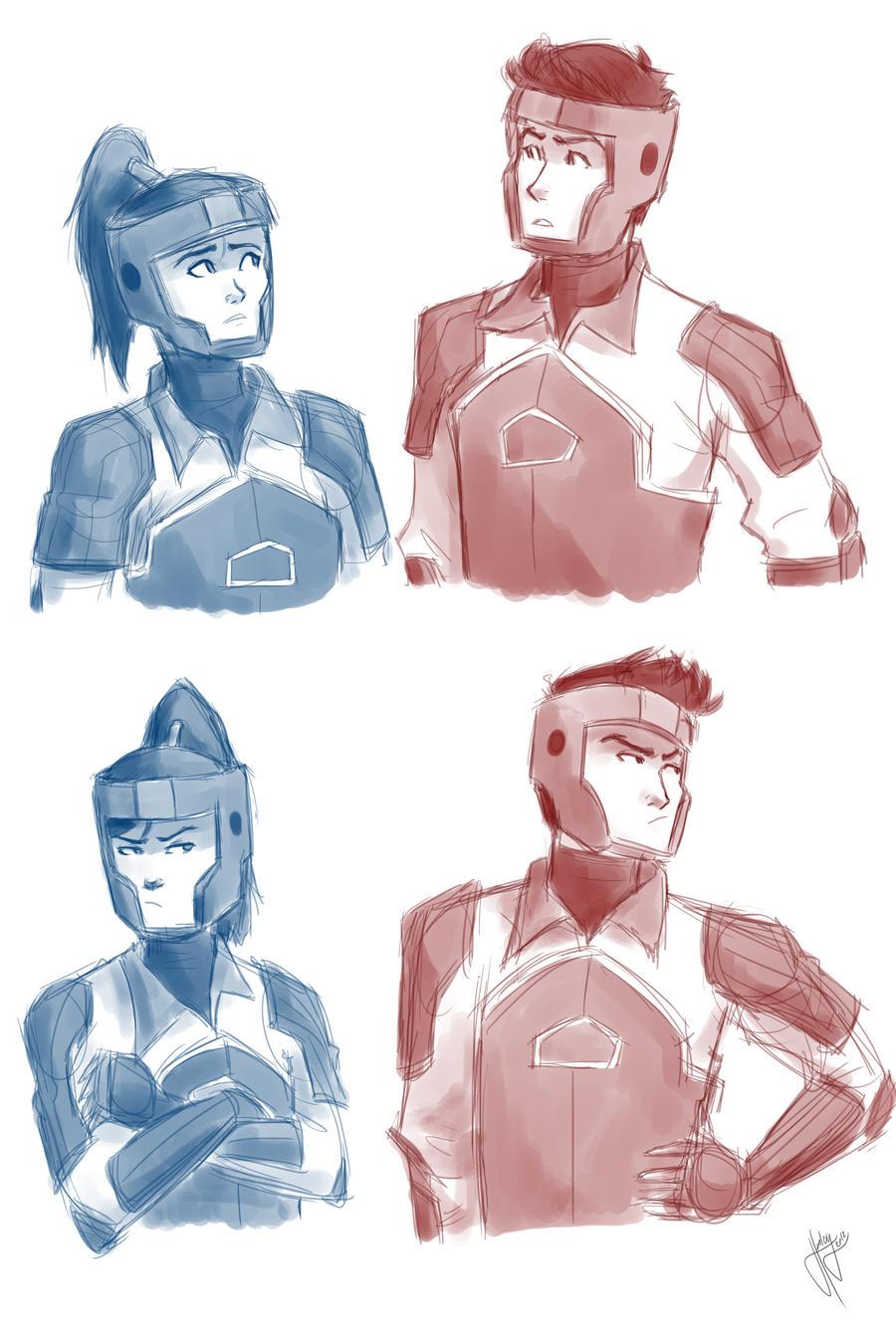 Korra and Mako doodle by blindbandit5