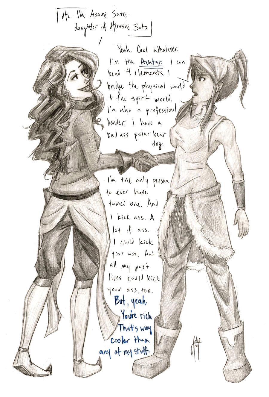 A More Accurate Meeting of Korra and Asami by blindbandit5