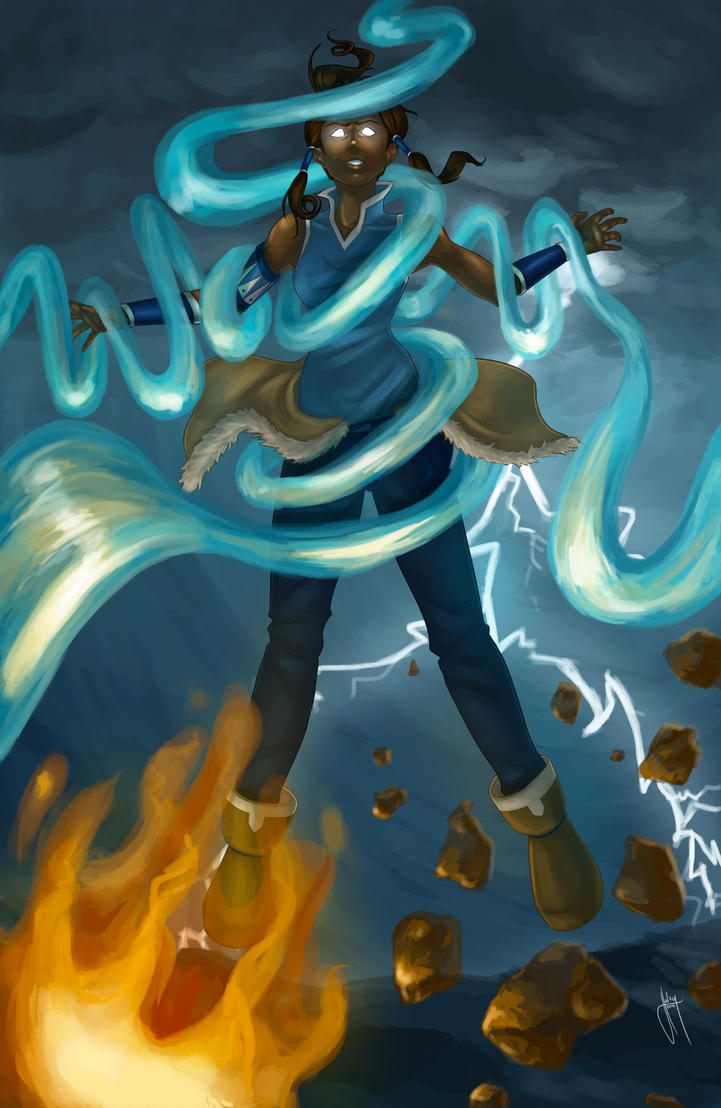 Korra in the Avatar State commission by blindbandit5 on ... Aang Avatar State Korra