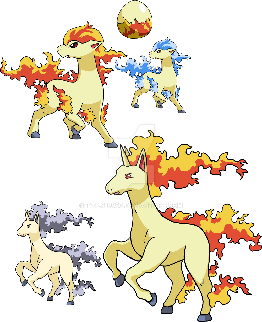 077 And 078 Ponyta Evolutionary Family By Tails19950 On
