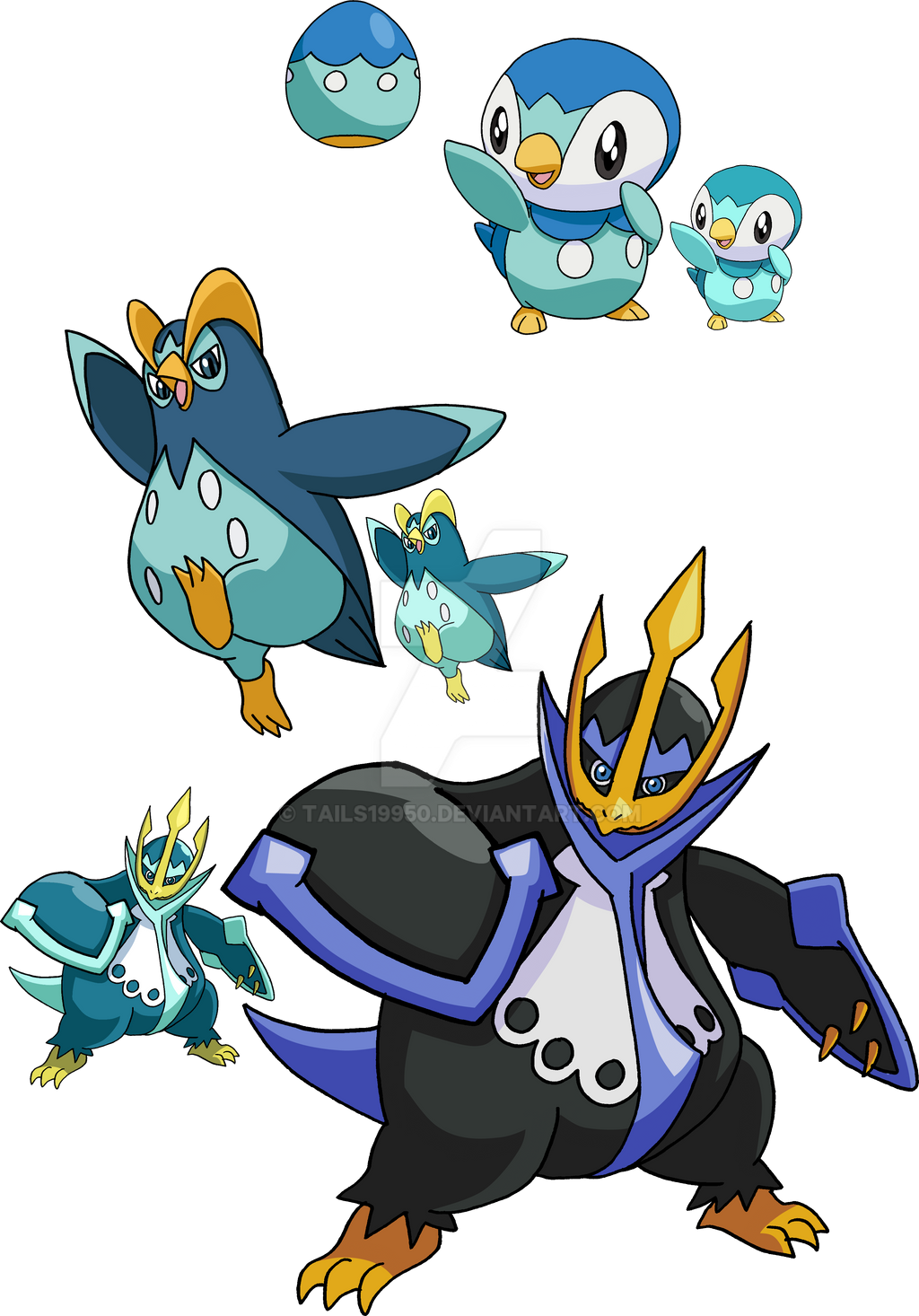 393, 394 and 395 - Piplup Evolutionary Family by ...