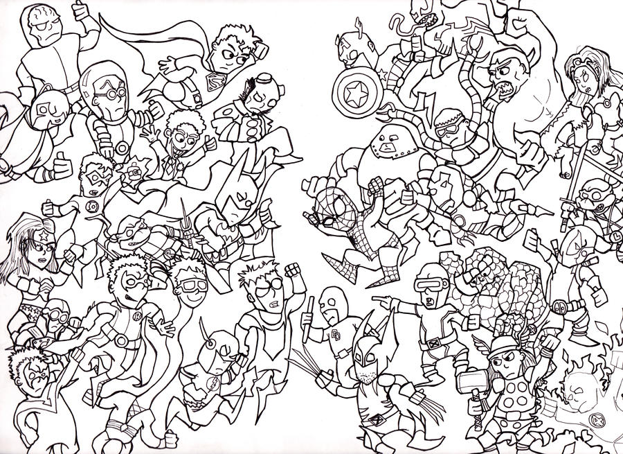 Marvel vs dc inked by johnnyism on deviantart for Marvel universe coloring pages