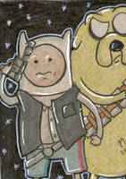 Adventure Time as Han Solo and Chewbacca sc by johnnyism