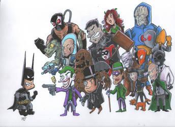 Batman Vs The Bad Guys by johnnyism