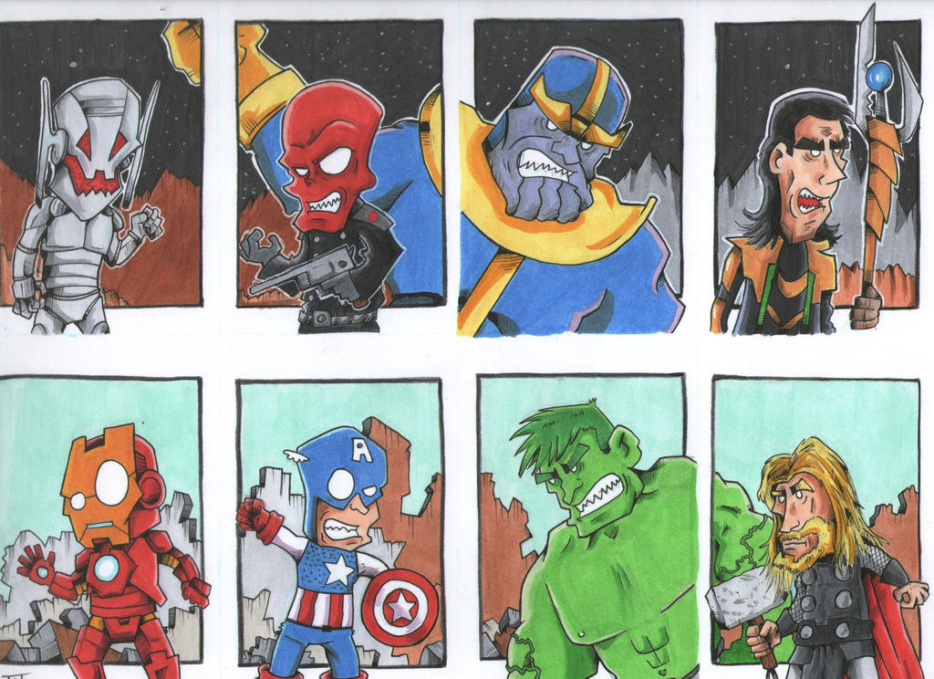 Avengers vs Baddies by johnnyism