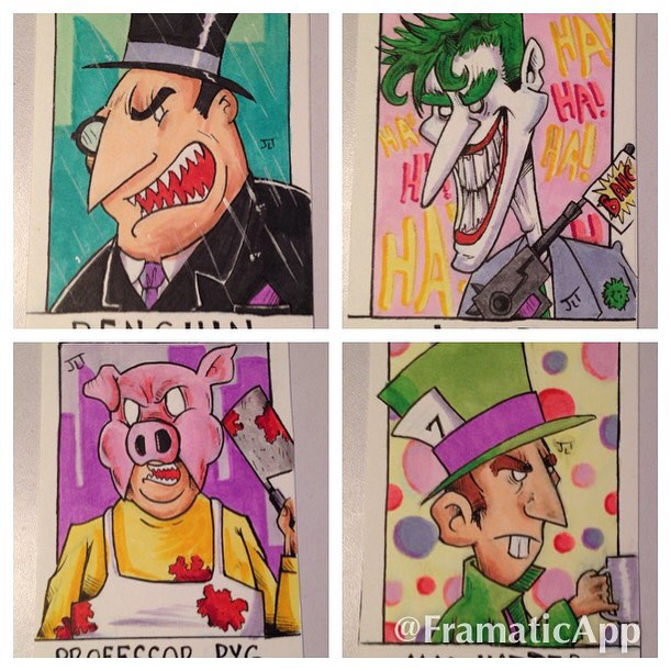 Batman Vilains Sketch Cards by johnnyism
