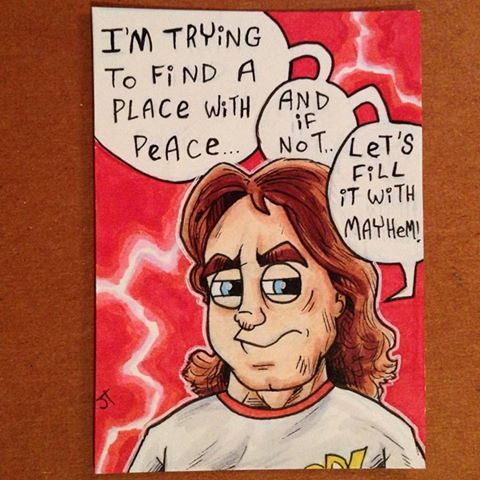 Rowdy Roddy Piper sketch card by johnnyism
