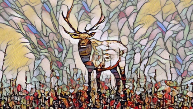 King of the Forest as a Stain Glass Image