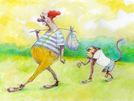 Clown and Monkey by gabrio76