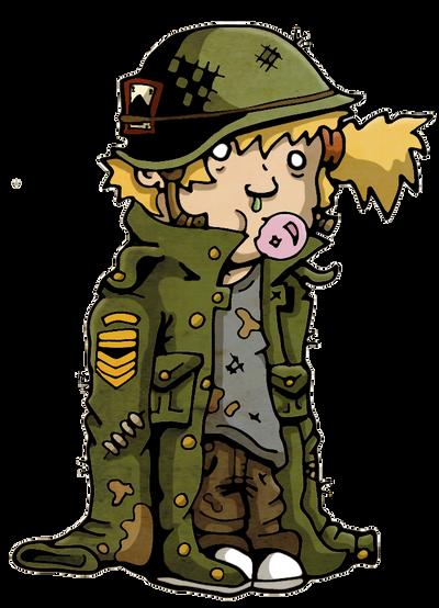 Soldier girl chewing bubblegum by LarsLasse