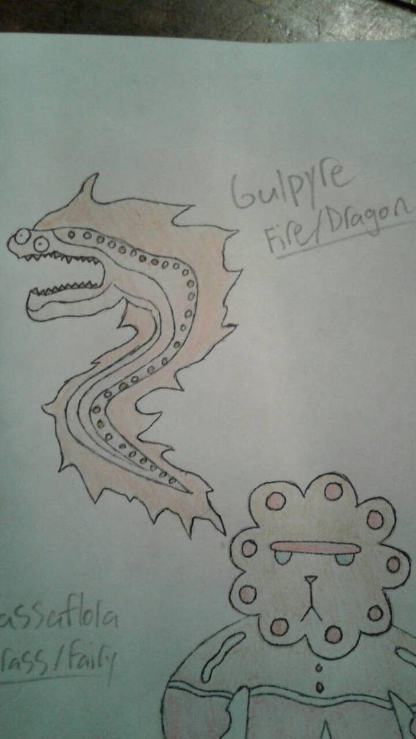 Gulpyre (Colored [Colored Pencils], Penned) by suckerforfakemon