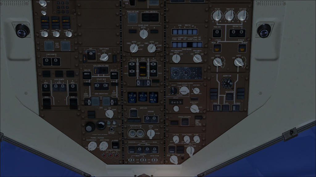 Boeing 757-200 overhead instrument panel by Silver2659 on