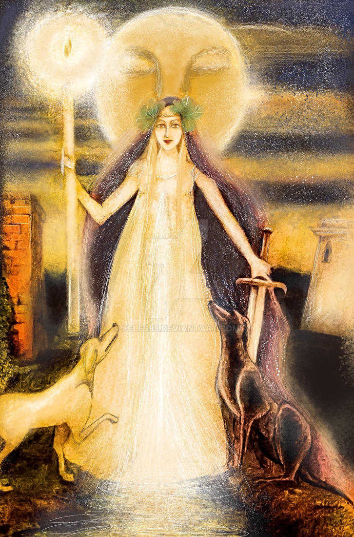 Goddess Hecate and her dogs by Feles85