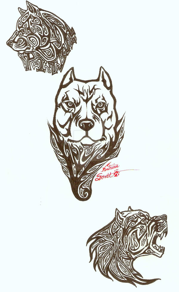 pit bull tattoo designs by chezarawolf on deviantart. Black Bedroom Furniture Sets. Home Design Ideas