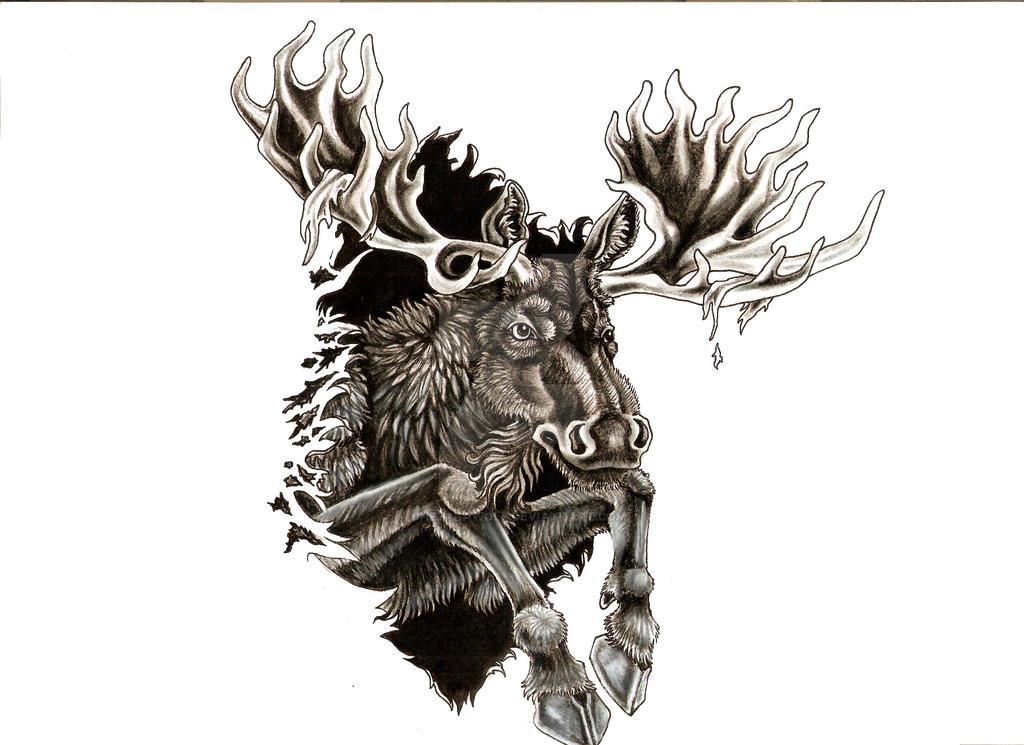 Charging Moose Tattoo Design by chezarawolf on DeviantArt