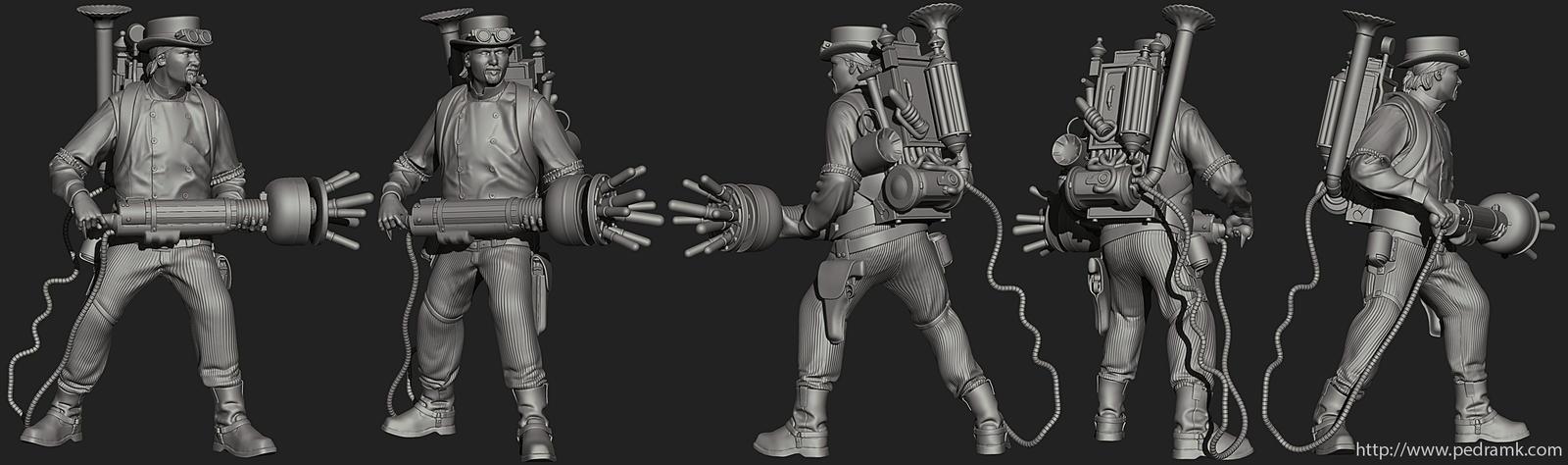 Steampunk Ghostbuster ZBrush by pedramk