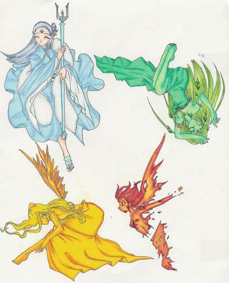 Four Elements Watercolour Artist Tuffytats: Four Elements By NakuraCalavera On DeviantArt