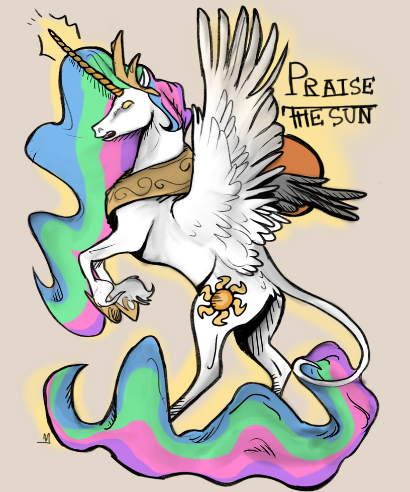 Princess Celestia Tattoo Design by X-marblehornets-x