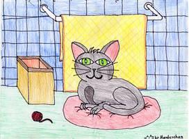 OLD DRAW cat in bathroom by marderchen