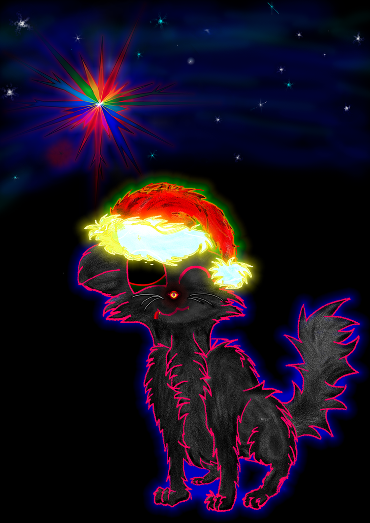 X-MAS cat watching Polarisstar (psychedelic) by marderchen