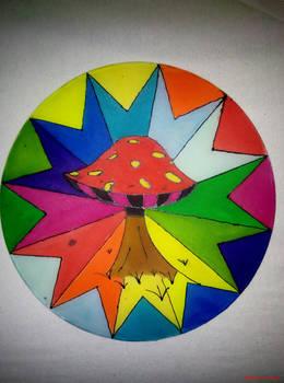 mushroom on silk (seide)
