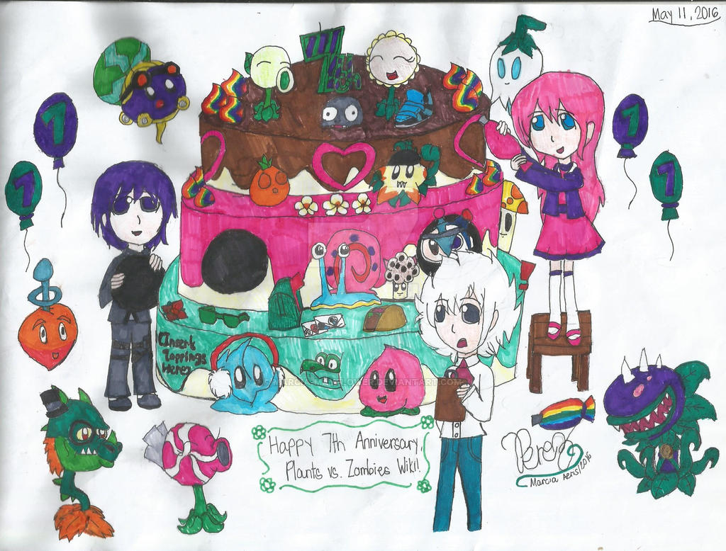 Plants vs  Zombies Wiki 7th Anniversary by marcia-mayflower