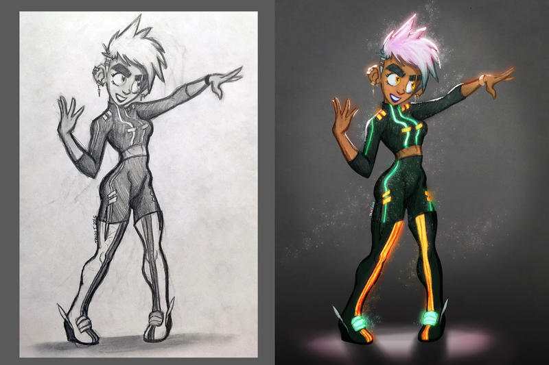 Neon Chic Before and After by Tabbytooner